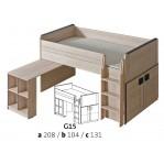 łóżko piętrowe z biurkiem Gumi G15a Dolmar z materacem