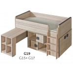 łóżko piętrowe z biurkiem Gumi G19 Dolmar z materacem