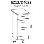 Eliza EZ12/D40S3 szafka dolna z szufladami 40 BogFran