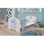 Łóżko PEPE + barierka J9 Niebieski Miś ADRK FURNITURE